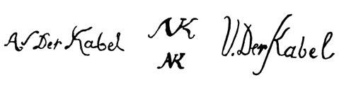la signature de AdriaenVan Dercabel-kabel