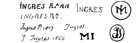 la signature de Jean Auguste Dominiqueingres